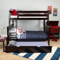 M3 Twin/Full Solid Pine Bunk Bed - Espresso