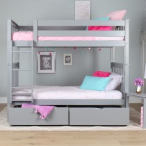 M3 Twin/Twin Solid Pine Bunk Bed - Grey