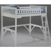 Twin Size Ginger Loft Bunk w/ Desk - White