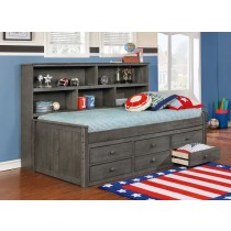 Twin Size Sideways Bed w/ 6 Drawer Under Storage - Weathered Grey - Dock48