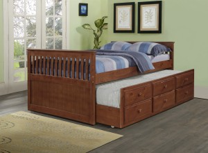 Full Daybed with Trundle over Storage Drawers - Espresso - Donco Kids