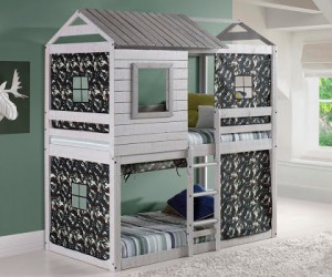 Deer Blind Bunk Loft w/Green Camo - Light Grey