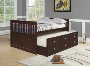 Full Daybed with Trundle over Storage Drawers - Cappuccino - Donco Kids