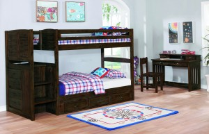 Chestnut Stair Stepper Twin over Twin Bunk Bed w/3 Drawer Underbed Storage