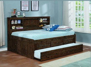 Chestnut Full Bookcase Daybed w/3 Drawer Underbed Storage and Twin Trundle